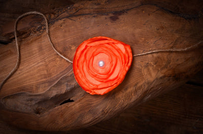 Satin Flower Headband - Dark Orange-Newborn Photography Props
