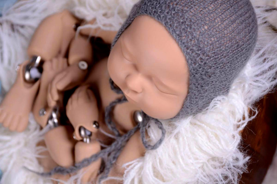 Mohair Bonnet - Smooth - Gray-Newborn Photography Props