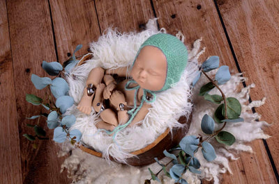 Mohair Bonnet - Smooth - Mint-Newborn Photography Props