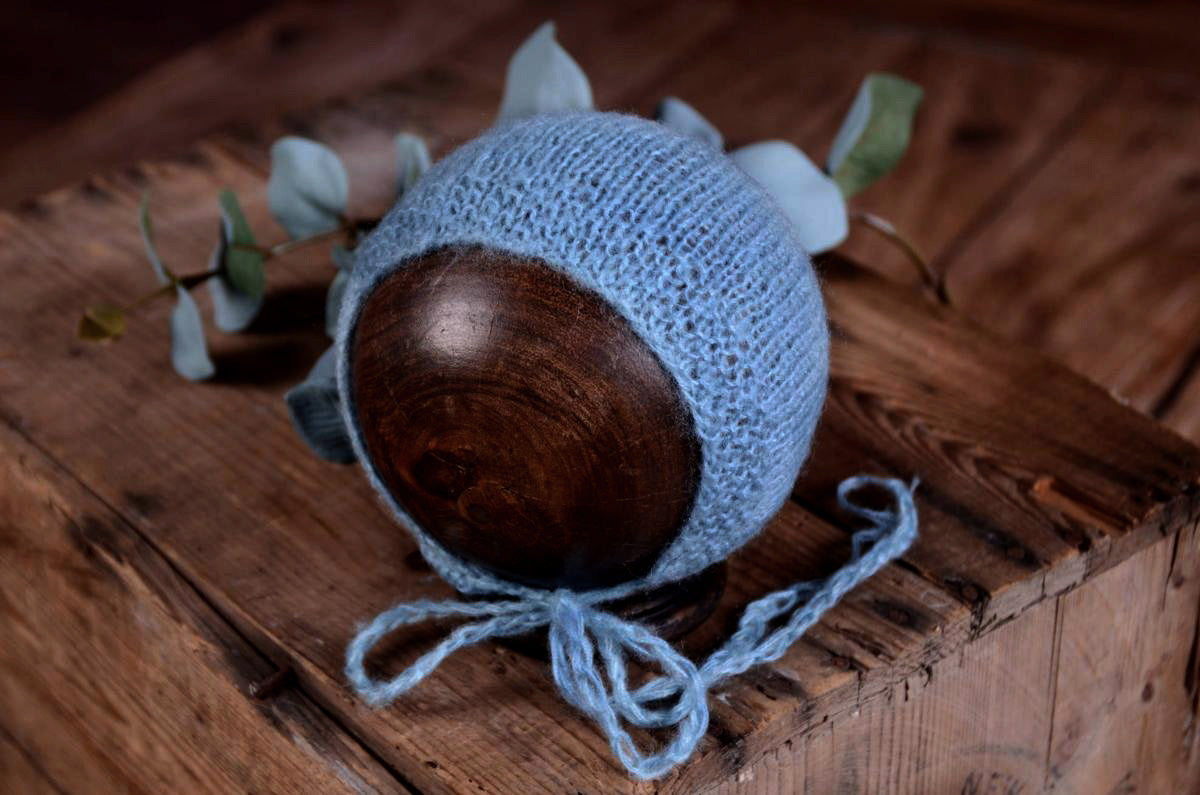 Mohair Bonnet - Smooth - Ocean-Newborn Photography Props