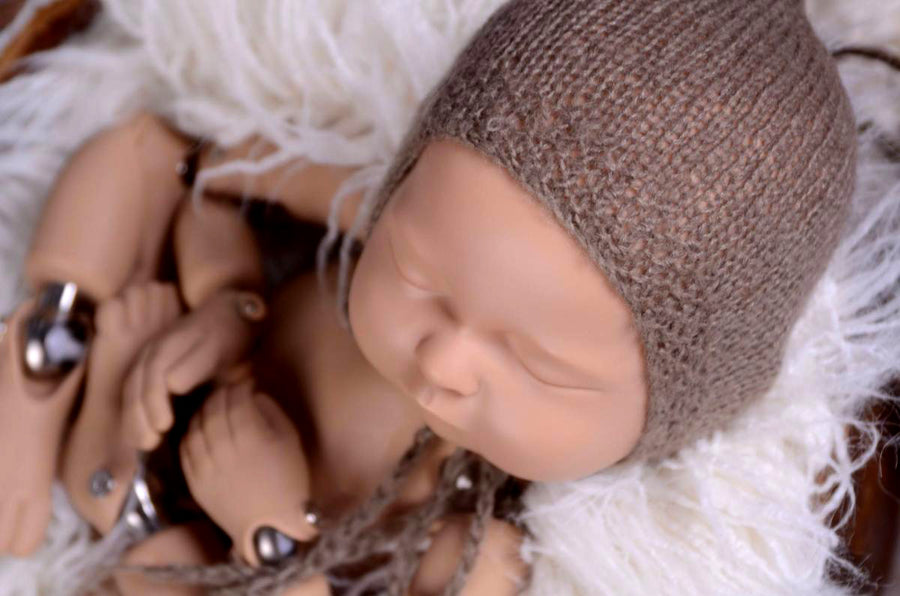 Mohair Bonnet - Smooth - Nut-Newborn Photography Props