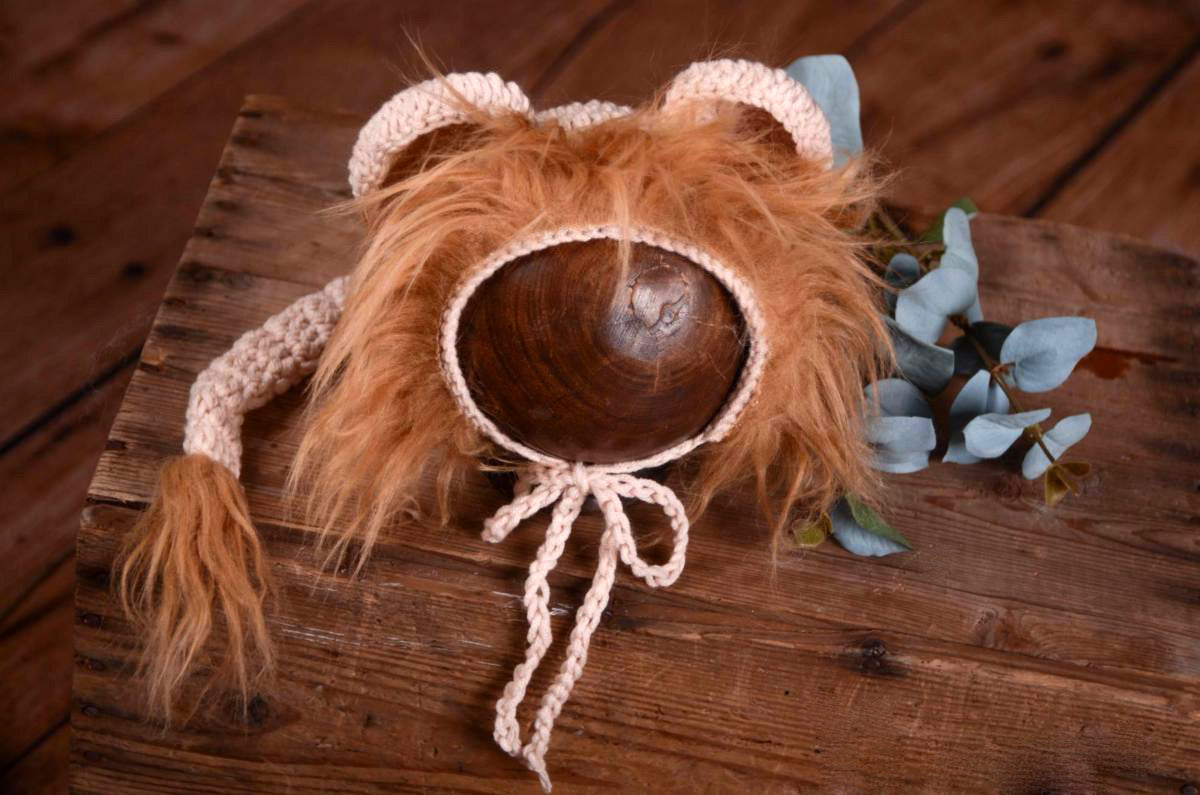Lion Bonnet with Ears and Mane-Newborn Photography Props
