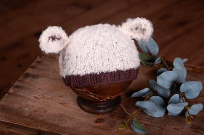 Sheep Hat - White and Brown-Newborn Photography Props