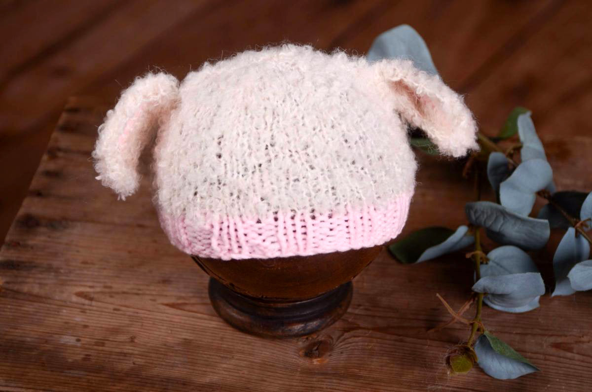 Sheep Hat - White and Pink-Newborn Photography Props