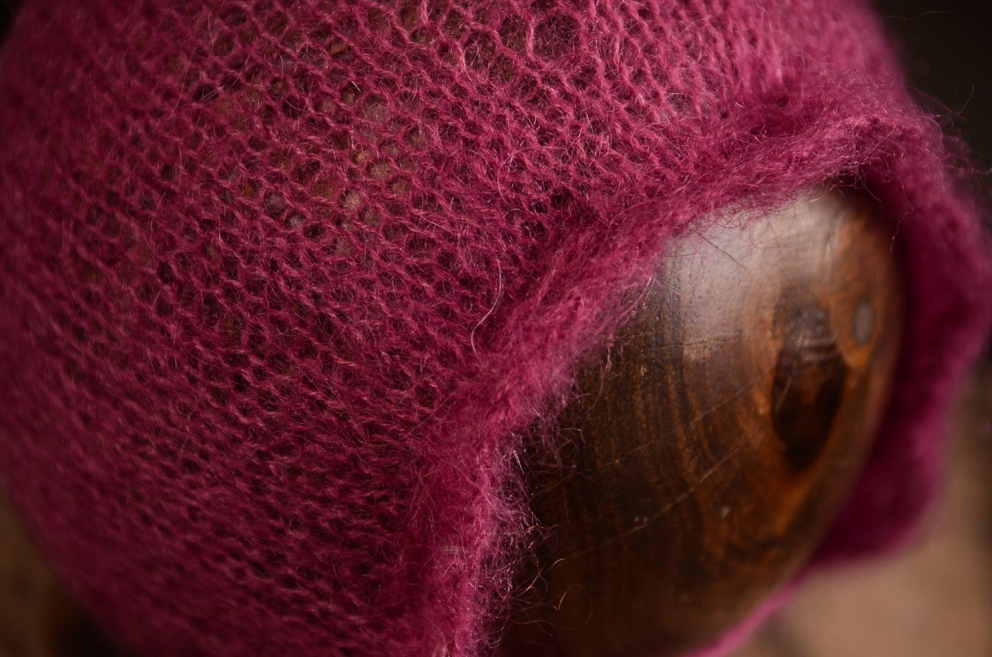 Adjustable Pointy Mohair Bonnet - Mauve-Newborn Photography Props
