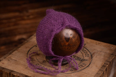 Adjustable Pointy Mohair Bonnet - Violet-Newborn Photography Props