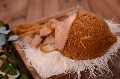 Threaded Mohair Bonnet - Light Brown