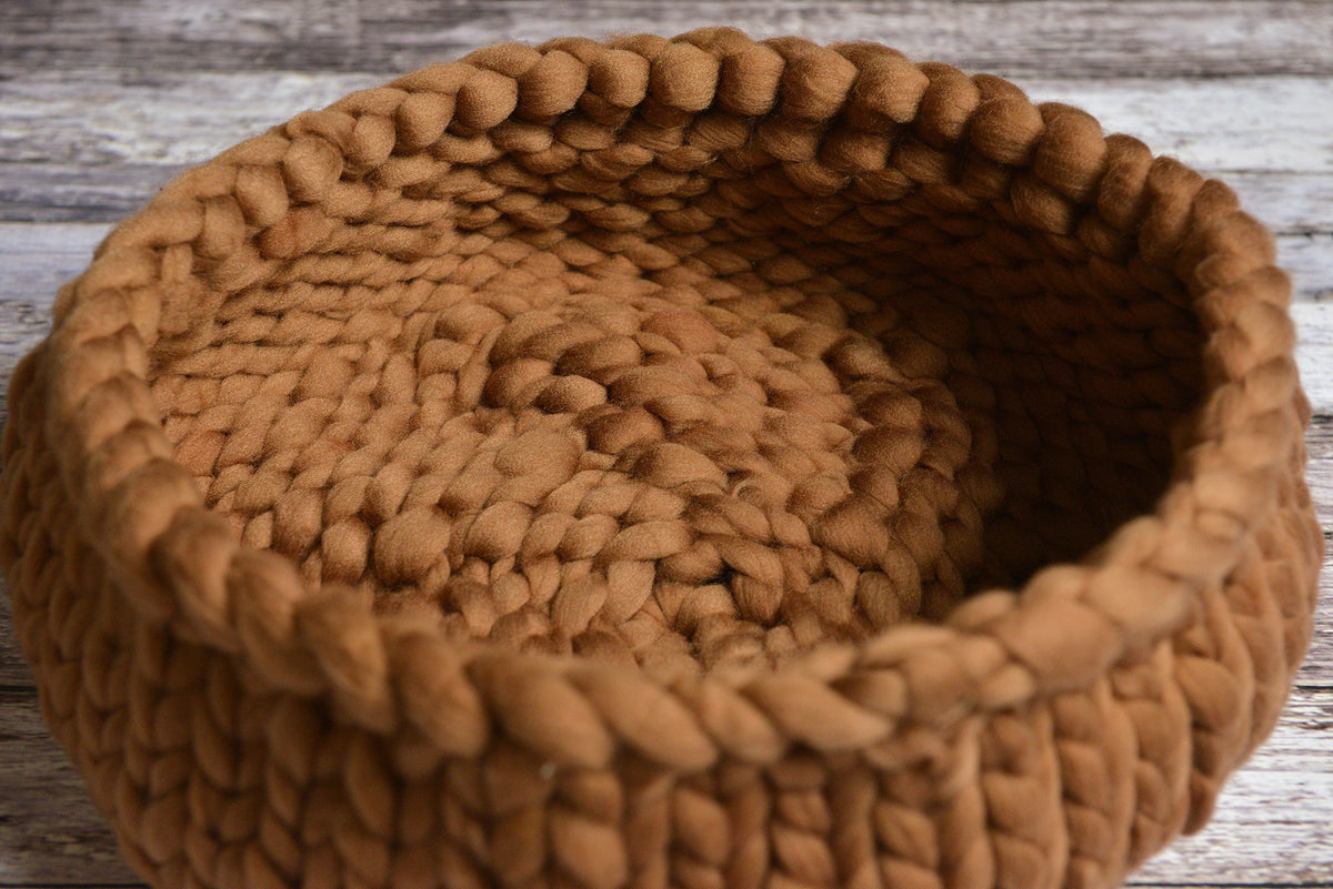 Knitted Thick Yarn Basket - Khaki-Newborn Photography Props