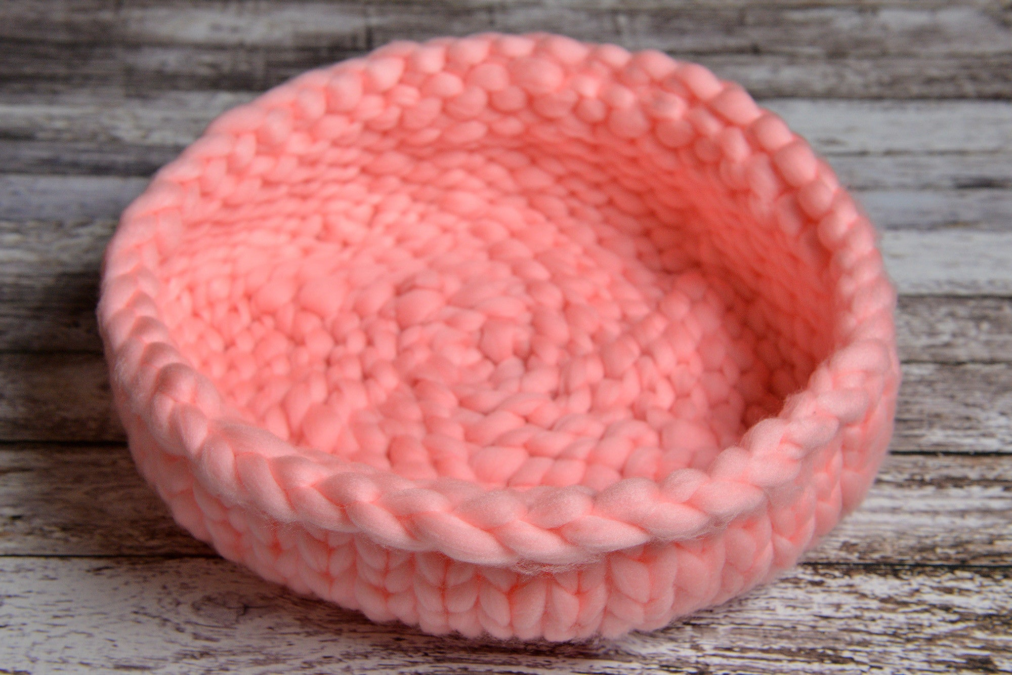 Knitted Thick Yarn Basket - Pink-Newborn Photography Props