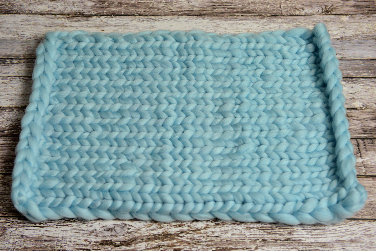 Knitted Thick Yarn Blanket - Aquamarine Blue-Newborn Photography Props