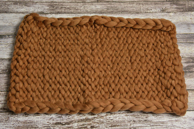 Knitted Thick Yarn Blanket - Khaki-Newborn Photography Props