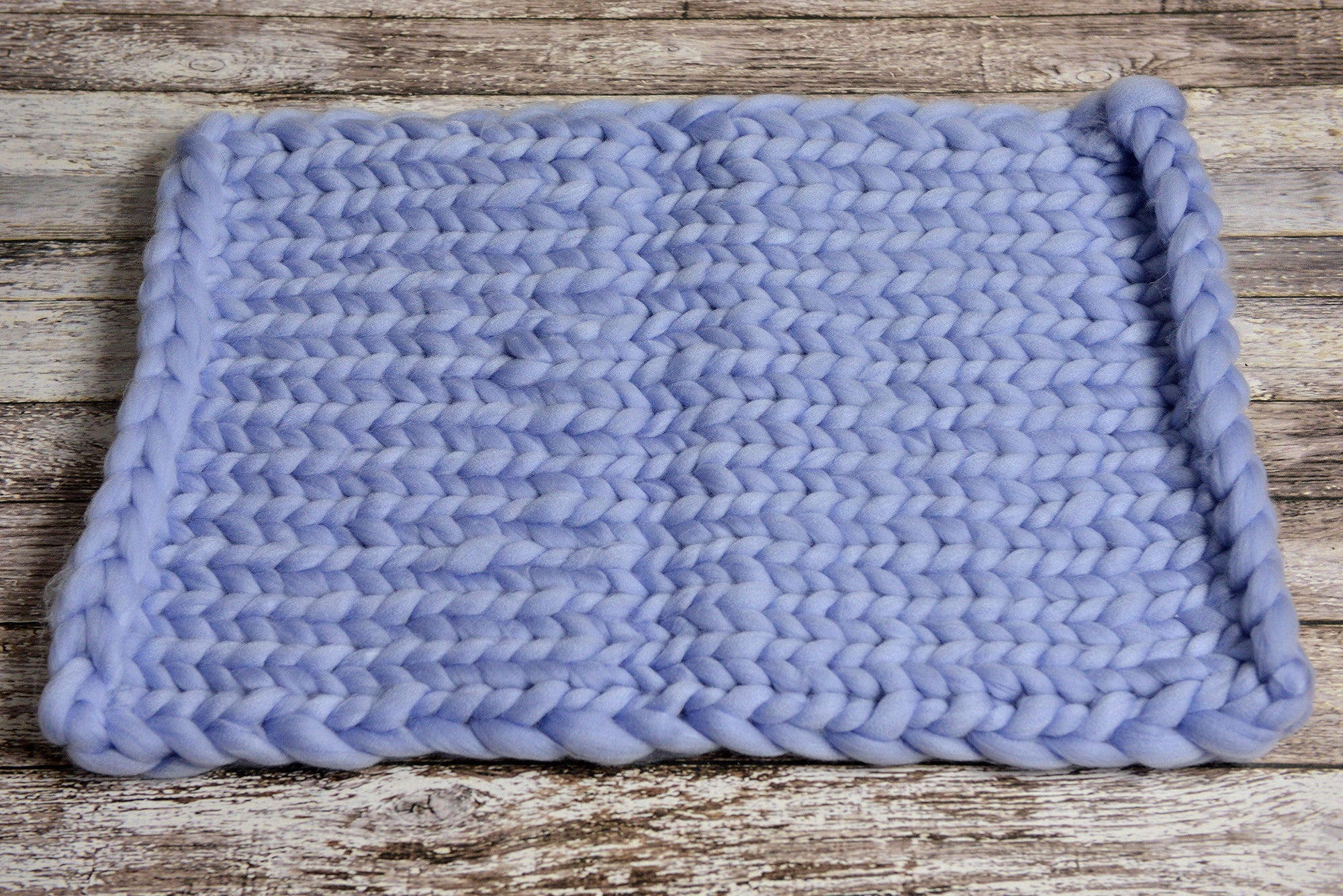 Knitted Thick Yarn Blanket - Light Blue-Newborn Photography Props