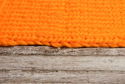 Knitted Thick Yarn Blanket - Orange