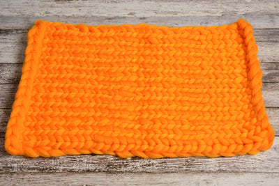 Knitted Thick Yarn Blanket - Orange-Newborn Photography Props