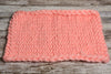 Knitted Thick Yarn Blanket - Pink