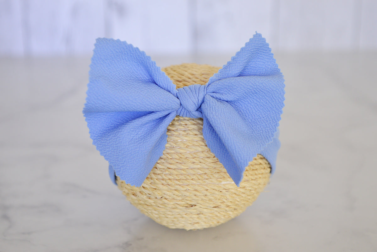 Bow Headband - Textured - Light Indigo