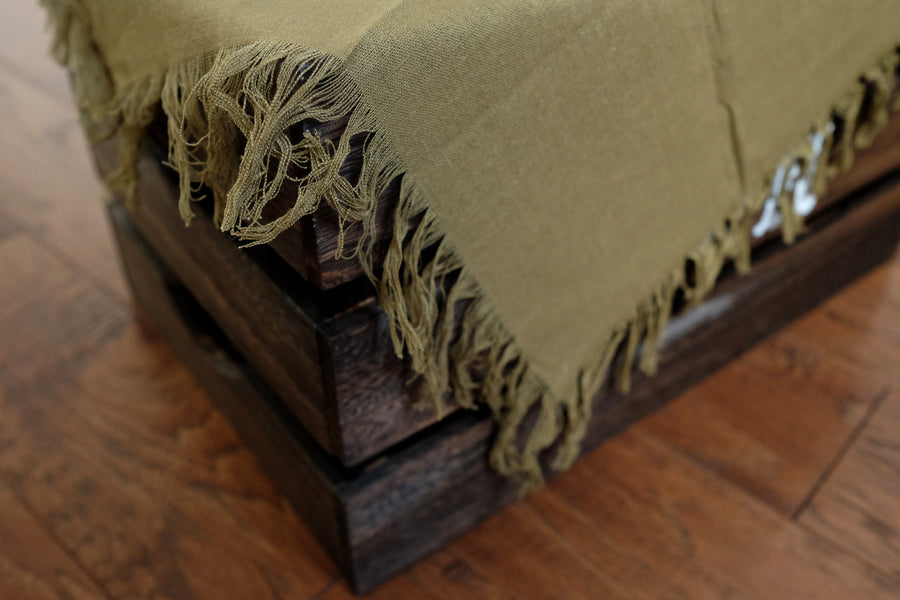 Linen Blanket - Olive Green-Newborn Photography Props