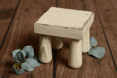 Rustic Square End Table - White