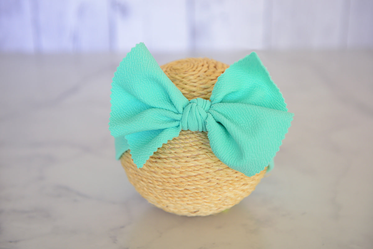 Bow Headband - Textured - Mint