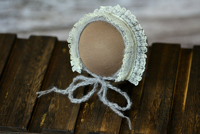 Mohair Bonnet with Lace - Silver-Newborn Photography Props