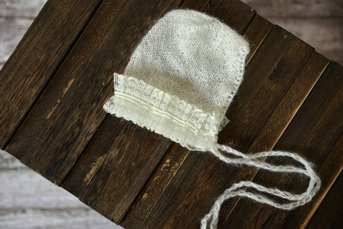 Mohair Bonnet with Lace - White-Newborn Photography Props