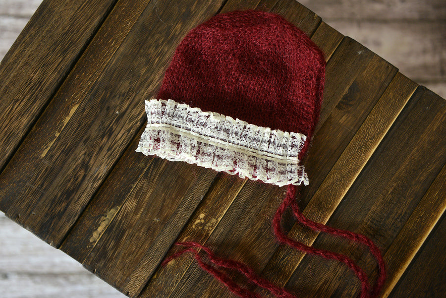 Mohair Bonnet with Lace - Burgundy-Newborn Photography Props