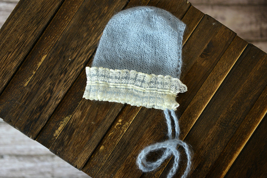 Mohair Bonnet with Lace - Cloud-Newborn Photography Props