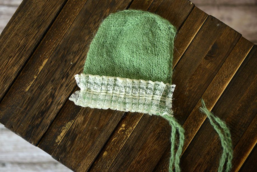 Mohair Bonnet with Lace - Sage