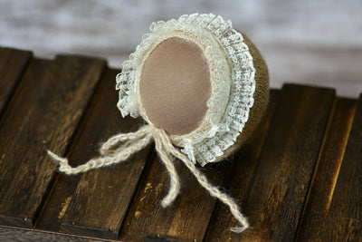 Mohair Bonnet with Lace - Beige-Newborn Photography Props