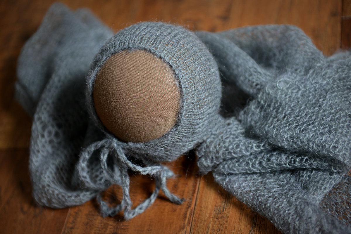 SET Mohair Knit Baby Wrap and Bonnet - Gray-Newborn Photography Props