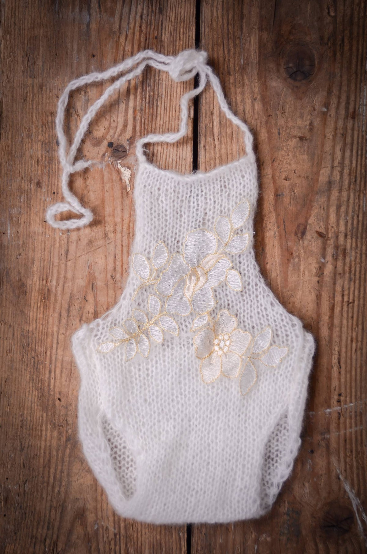 Mohair Knit Romper with Flowers - Milk White-Newborn Photography Props