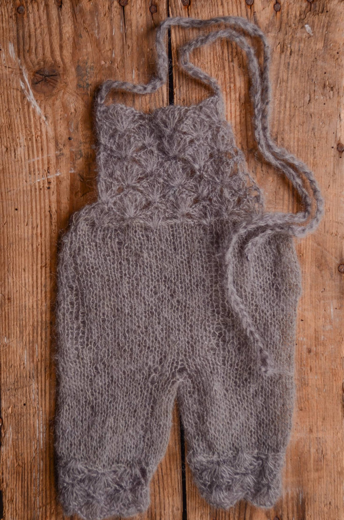 Mohair Overall - Gray-Newborn Photography Props