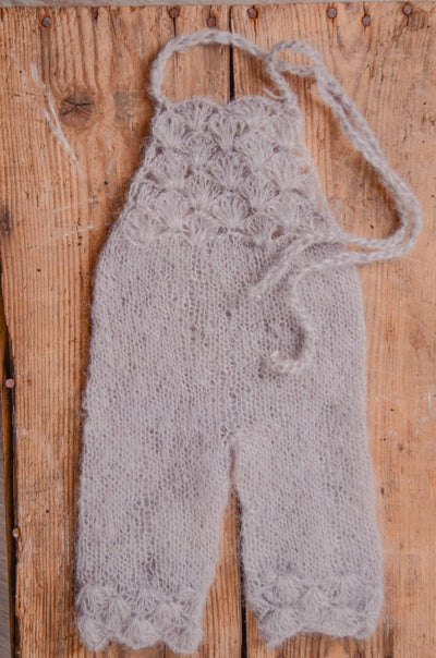 Mohair Overall - Silver-Newborn Photography Props