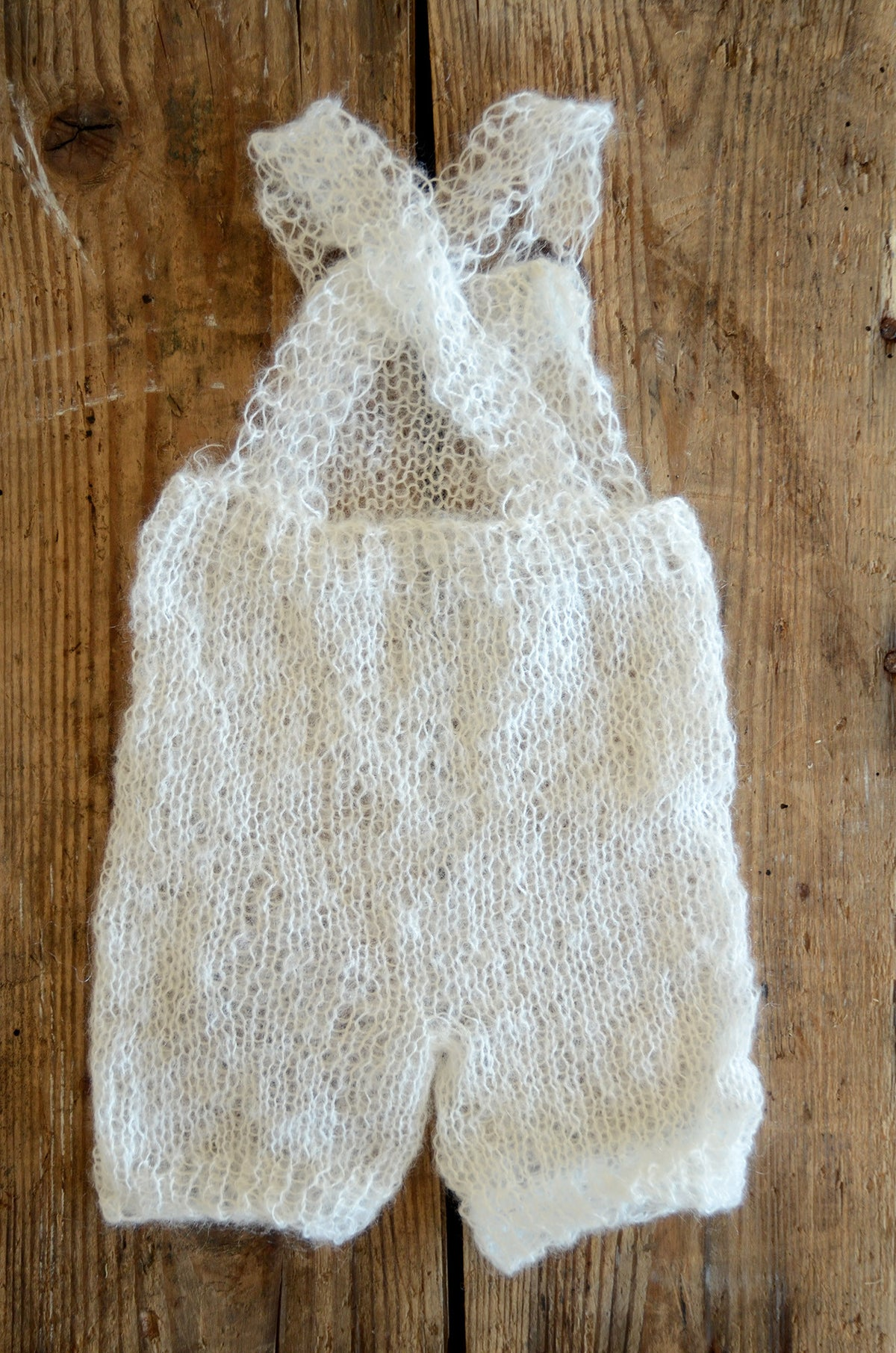 Mohair Overall with Patch and Buttons - Milk White-Newborn Photography Props