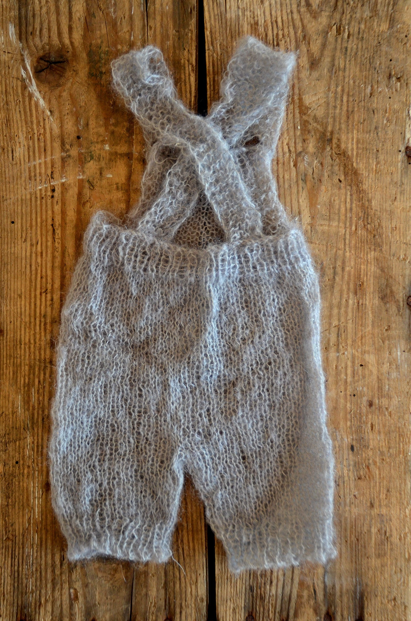 Mohair Overall with Patch and Buttons - Silver-Newborn Photography Props