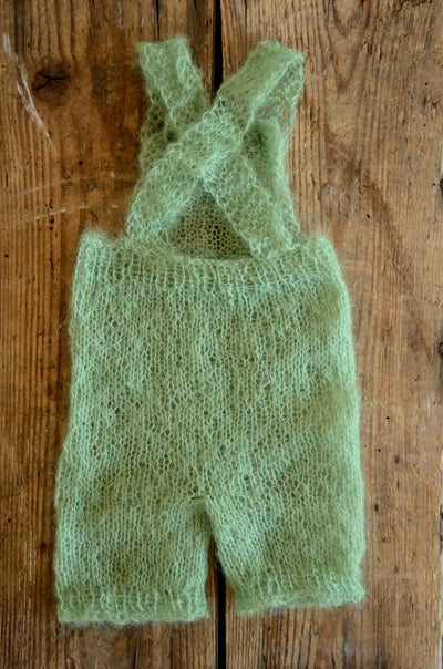 Mohair Overall with Patch and Buttons - Sage-Newborn Photography Props