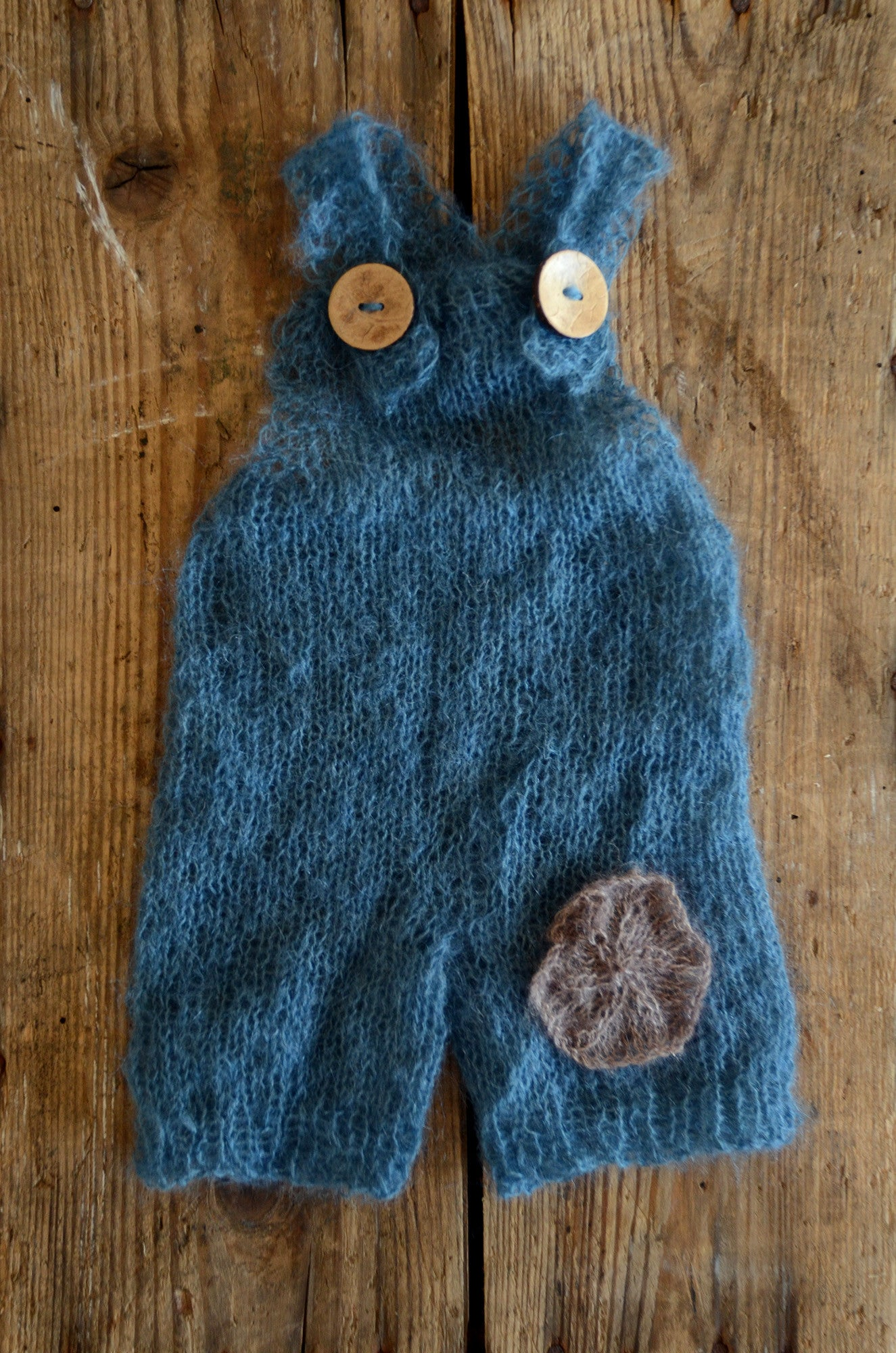 Mohair Overall with Patch and Buttons - Steel Blue-Newborn Photography Props
