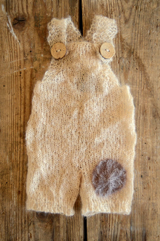 Mohair Overall with Patch and Buttons - Beige