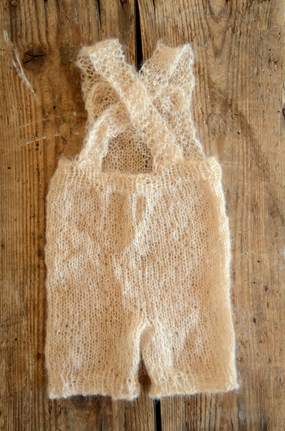 Mohair Overall with Patch and Buttons - Beige-Newborn Photography Props