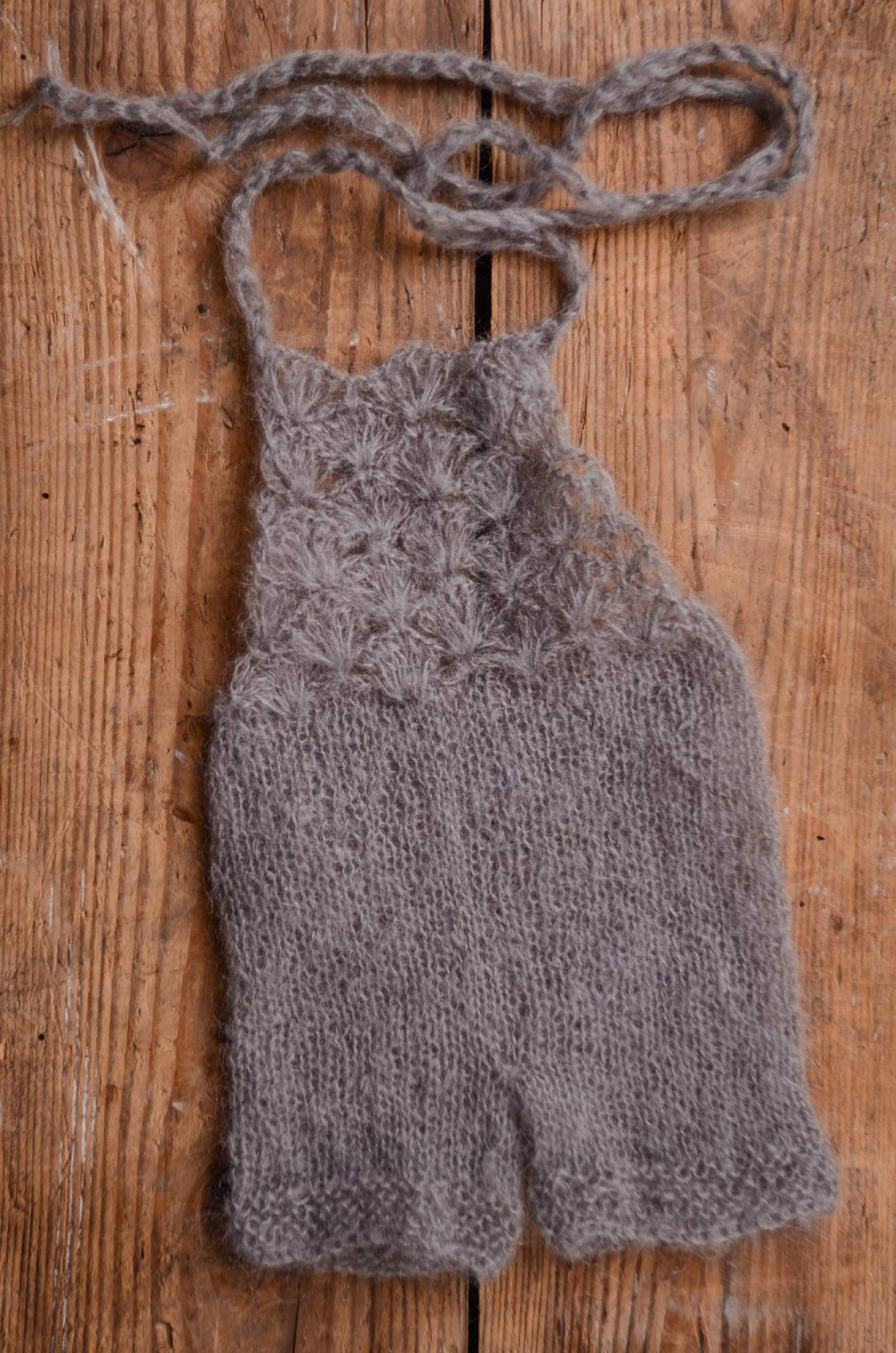 Mohair Romper - Gray-Newborn Photography Props