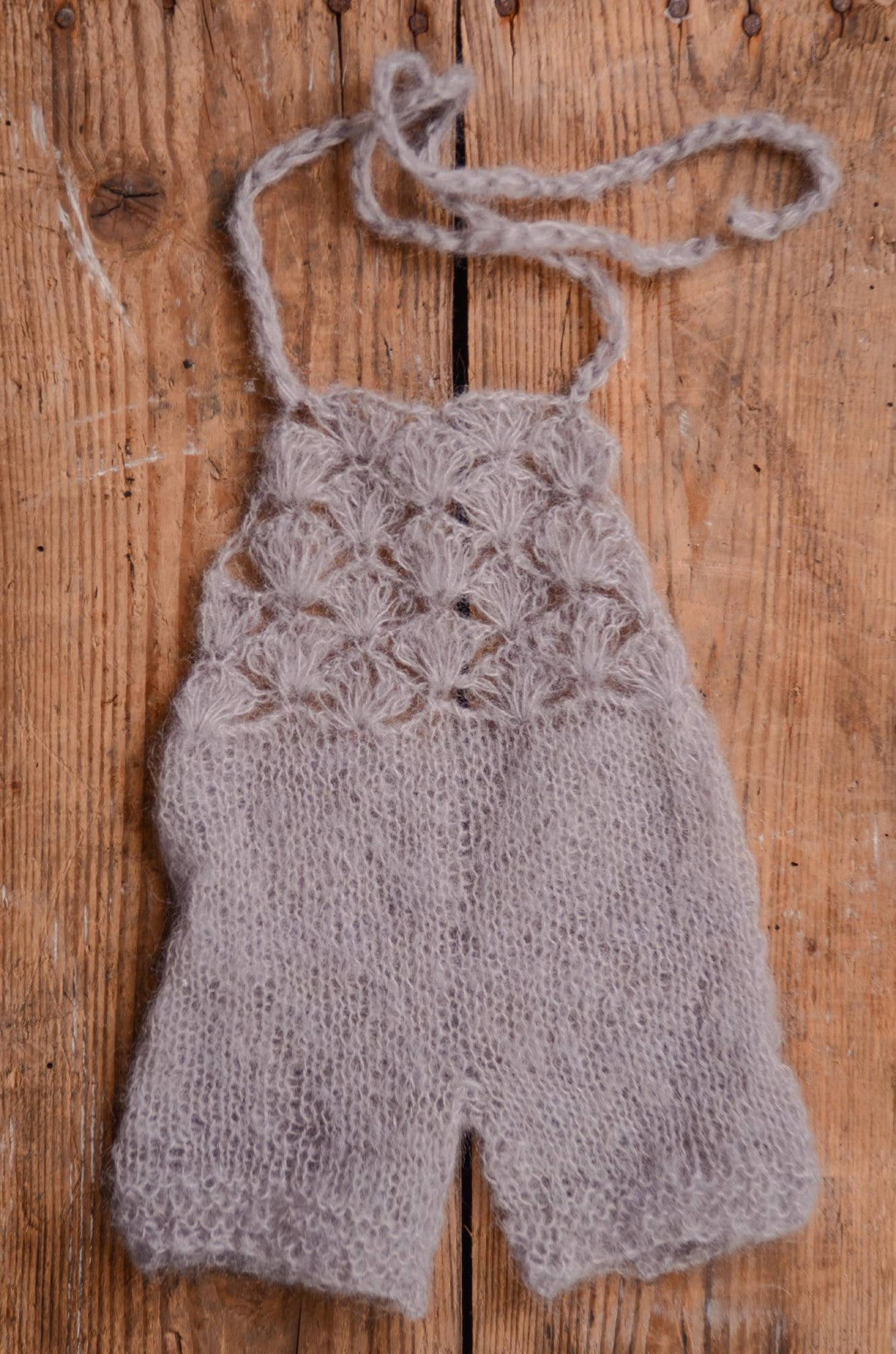 Mohair Romper - Silver-Newborn Photography Props