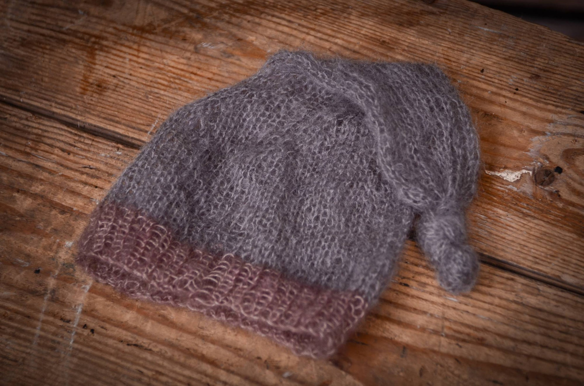 Mohair Sleeping Hat - Gray-Newborn Photography Props