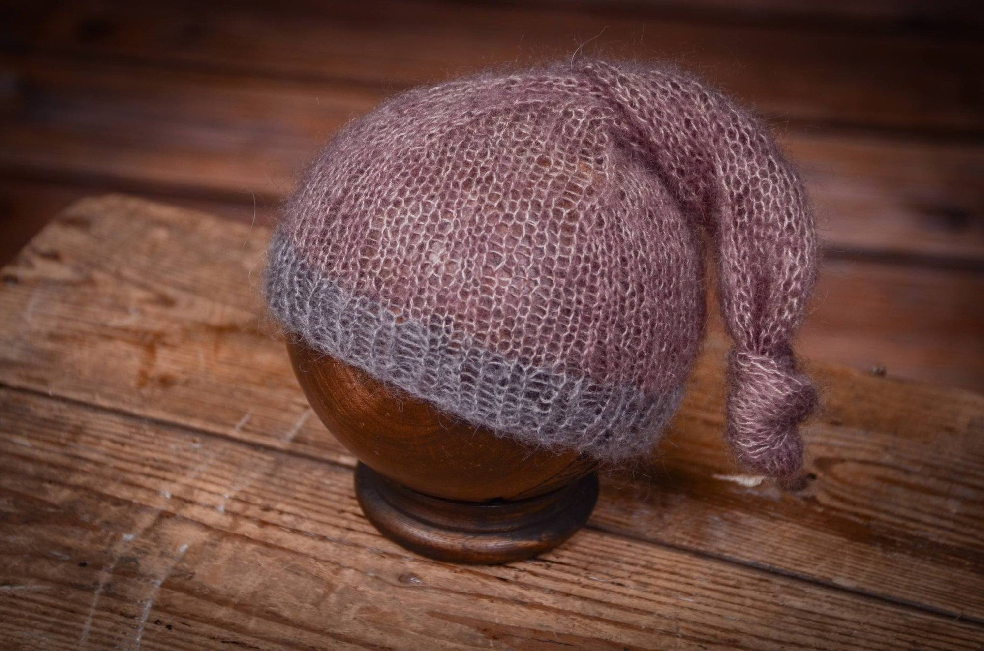 Mohair Sleeping Hat - Mauve-Newborn Photography Props