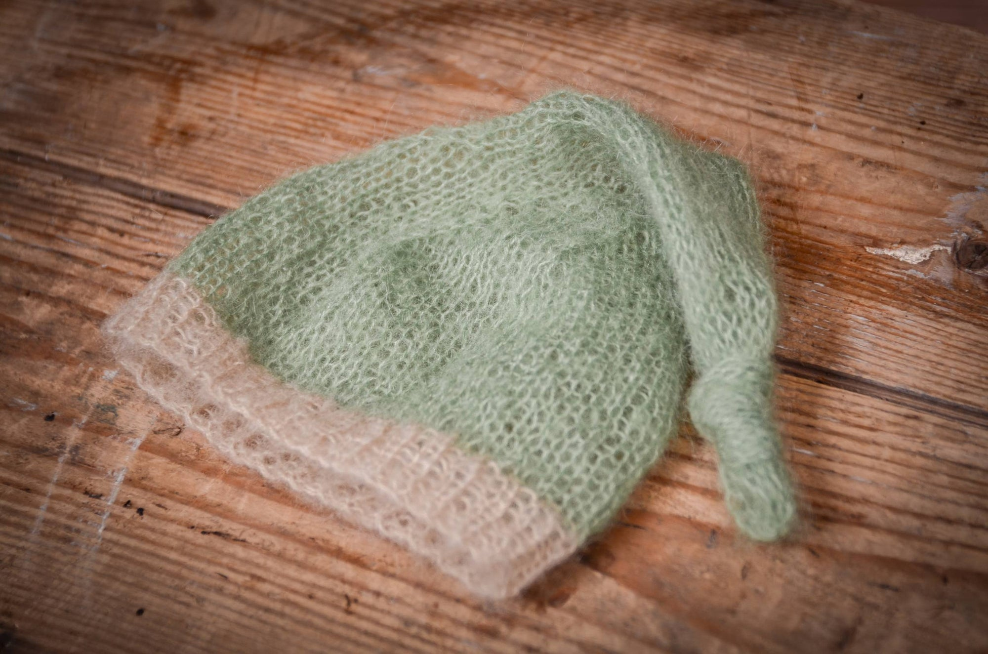 Mohair Sleeping Hat - Sage-Newborn Photography Props