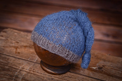 Mohair Sleeping Hat - Steel Blue-Newborn Photography Props