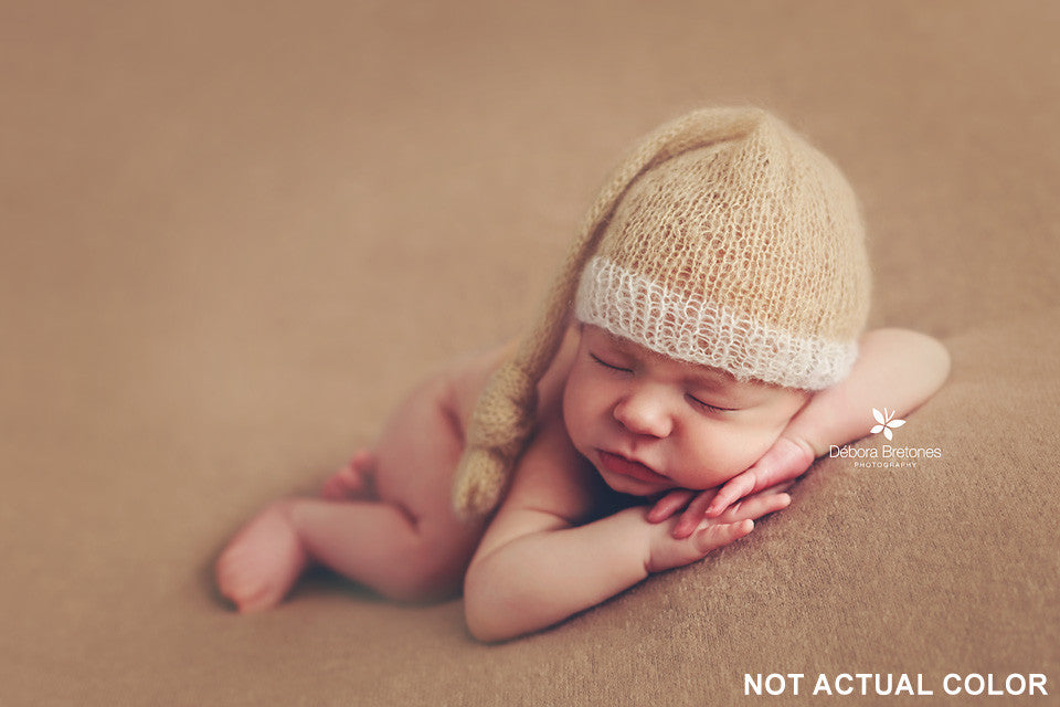 Mohair Sleeping Hat - Pale Green-Newborn Photography Props