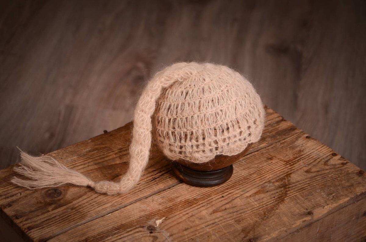 Ornate Mohair Sleeping Hat - Beige-Newborn Photography Props