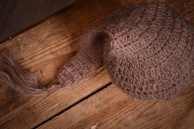 Ornate Mohair Sleeping Hat - Nut-Newborn Photography Props
