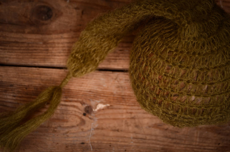 Ornate Mohair Sleeping Hat - Olive