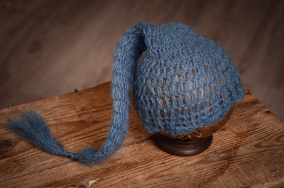 Ornate Mohair Sleeping Hat - Steel Blue-Newborn Photography Props